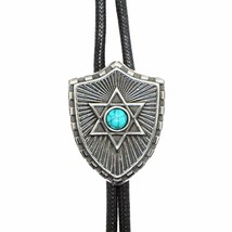 Turquoise Shield Mens Bola BOLO Tie for Men or Women - Vintage Western C... - $16.99
