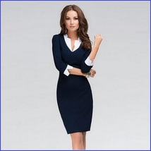 Prima Donna Three Quarter White Cuff Sleeves and V Neck Collar Navy Pencil Dress image 2
