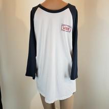 Vans Men's Baseball Tee Shirt White Blue Sleeve Size Medium Work Shirt - $12.39