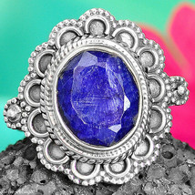Solid 925 Sterling Silver Lapis Estate Ring Big Stone Vintage Size 6.5 - $18.98