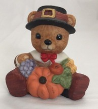 HOMCO Bear Figurine #1413 - Thanksgiving Bear with Pumpkin and Black Hat - $4.95