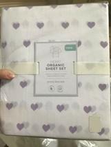 Pottery Barn Kids Heart Sheet Set Lavendar Twin Organic Flannel New - $44.75