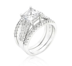 Hana Princess Cut Engagement and Wedding Three Ring Set | 4ct | Cubic Zi... - $44.95