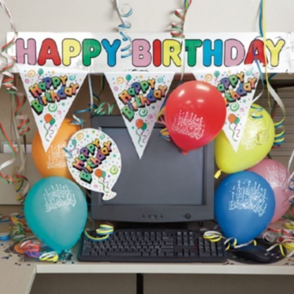 Birthday Decorating Kit Cubicle Office Decor Banner Balloons Party