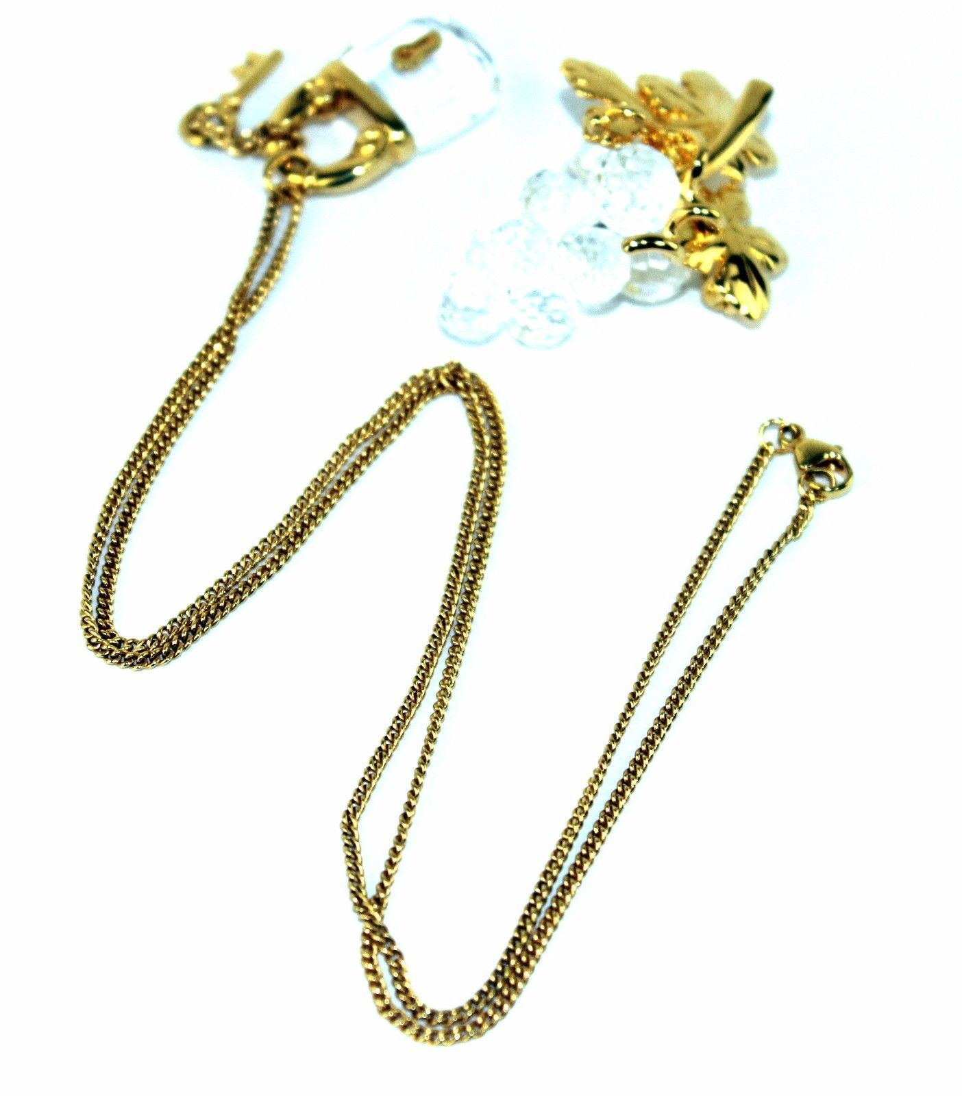 Auth Swarovski Gold Tone & Crystal Lock Pendant Chain Necklace W/ Brooch Unused