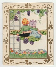 Vintage Valentine Card Girl and Boy Grape Arbor Die-Cut 1920's - $9.89