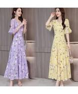 Women Summer Slim Leisure Waist Horn-Sleeve Floral Dress yellow_L - $21.97