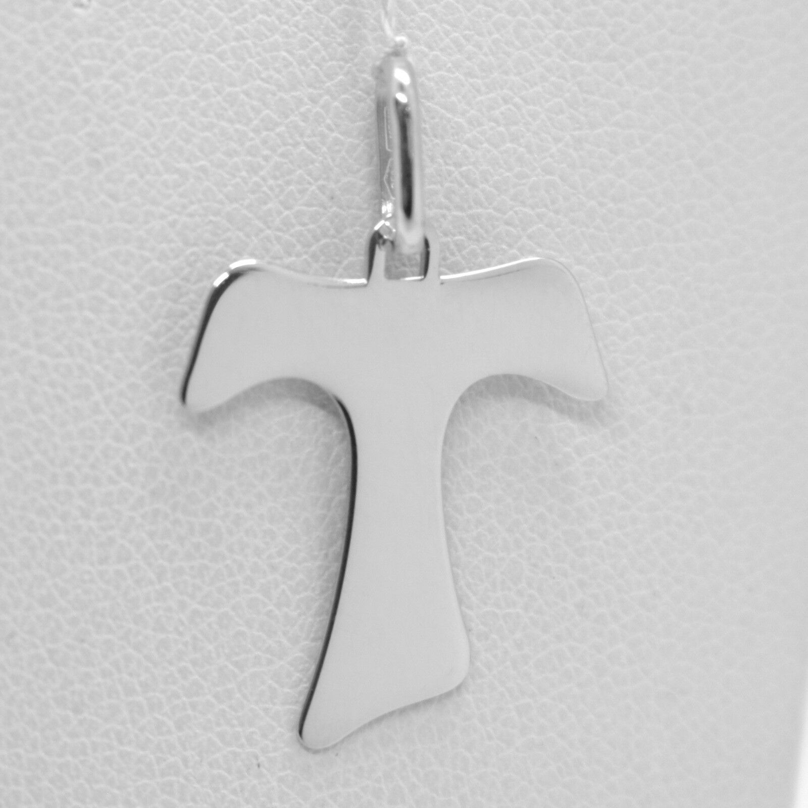 18K WHITE GOLD CROSS, FRANCISCAN TAU TAO SAINT FRANCIS 1.1 inches MADE IN ITALY
