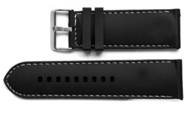 30MM BLACK WHITE RUBBER SILICONE COMPOSITE WHITE STITCH WATCH BAND STRAP - $12.38