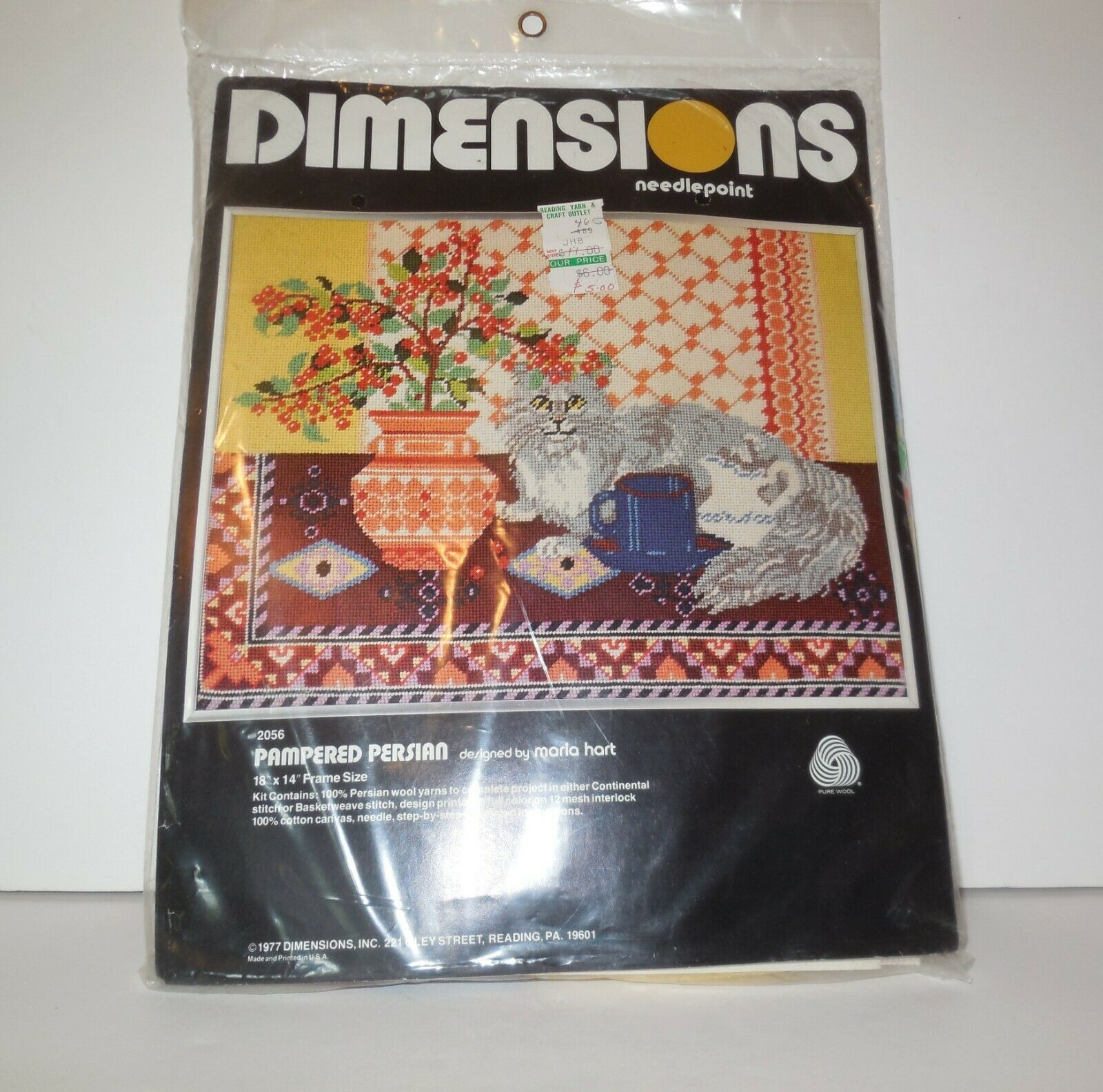 Primary image for Dimensions Needlepoint new PAMPERED PERSIAN Cat #2056 NIP 1977 Maria Hart Vtg