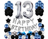 13th Birthday Decorations Black Party Blue Party 13 Party Balloons Silver Theme