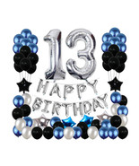 13th Birthday Decorations Black Party Blue Party 13 Party Balloons Silver Theme - £19.32 GBP