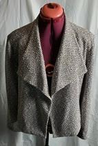 Calvin Klein Womens Topper Jacket Beige Black Sz Large L Knit Flyaway Re... - $44.54