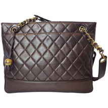 Vintage CHANEL gunmetal, bronze lambskin tote bag with gold tone shoulde... - $1,200.00