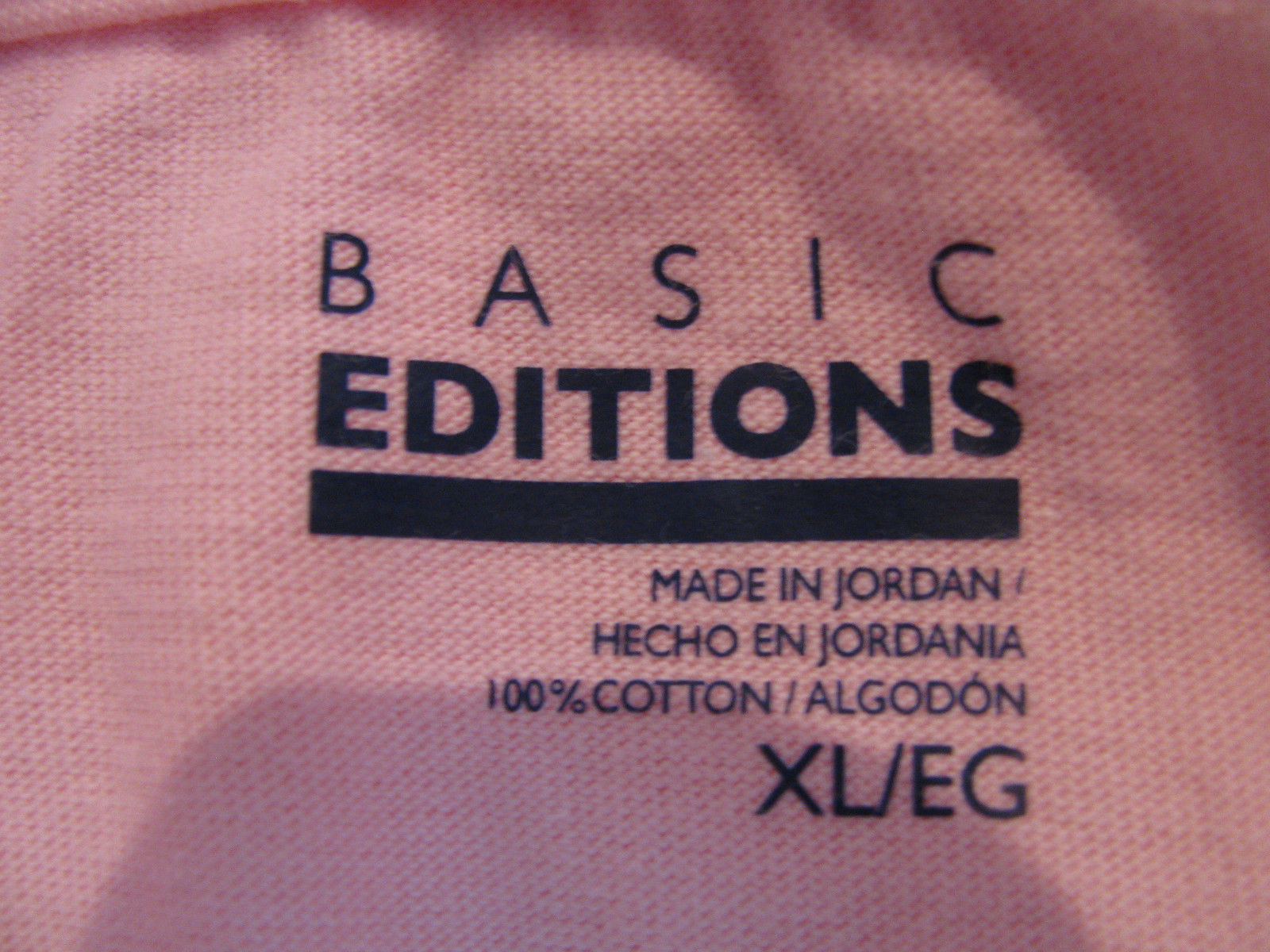 TOP LADIES KNIT BASIC EDITIONS  XL PINK-NAVY-COLLAR 3 BUTTONS SLIT SIDE