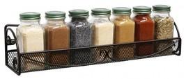 Spice Rack Wall Mount Storage Kitchen Bath Single Tier Mesh Bronze Metal... - $17.82
