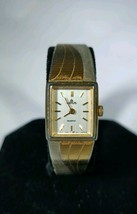 Vintage Lorus womens gold and silver tone watch square case white dial - $13.99
