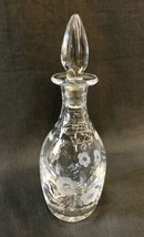 Royal Albert Old Country Roses Decanter Clear Gray Cut Floral Stopper Le... - $34.60