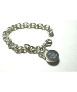 Tiffany & Co 1837 Round Concave Charm Pendant Bracelet Link Chain Pouch Silver - $407.40