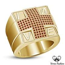 Men's Wedding Band Love Ring Red Garnet 18k Gold Plated 925 Pure Sterlin... - $102.88