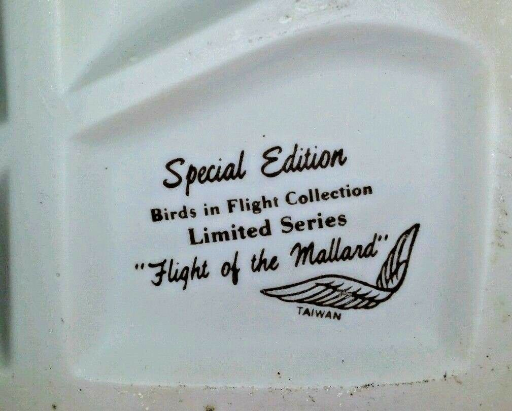 "Vintage Porcelain Bisque Duck Figurine SPECIAL EDITION  ""Flight of the Mallard"""