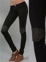 Current Elliott Grommet Knee Moto Jet Black Overdye Skinny Jeans Size 27 - $58.41