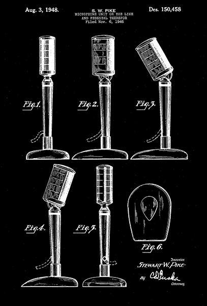 Primary image for 1948 - Microphone - S. W. Pike - Patent Art Poster