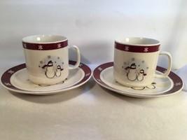 Royal Seasons Stoneware 2 Mugs 2 Dessert Dishes Mr. & Mrs. Snowman - $14.80