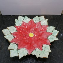 "VTG 12"" inch Red and green Poinsettia Ceramic MT Dish Platter Plate Chri... - $24.25"