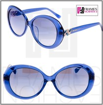 Jimmy Choo Clem Translucent Blue Mirrored Round Sunglasses Asian Fit CLEM/F/S - $250.47