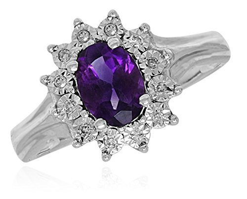 10 k White Gold Genuine Amethyst Diamonds Accent Womens Ring
