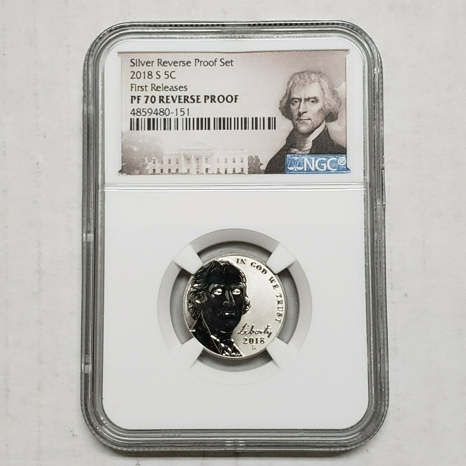 2018 S Nickel NGC PF70 From Silver REVERSE PROOF Set First Releases SKU C17