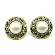 1928 Jewelry Brand Goldtone Round Faux White Pearl Filigree Pierced Earrings - $14.54
