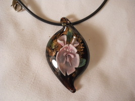 Glass Flower Necklace Murano Lampwork Hand Made  #FJW183 - $11.99