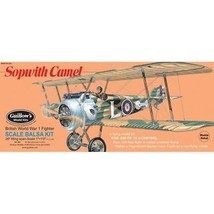 Balsa Wood Flying Bi-Wing Model Airplane Kit Guillows WW I Sopwith Camel... - $47.02