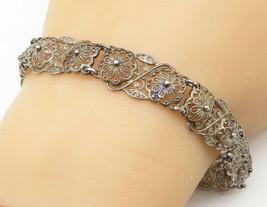 ALICE CAVINESS GERMANY 925 Silver - Vintage Flower Lace Filigree Bracele... - $36.00