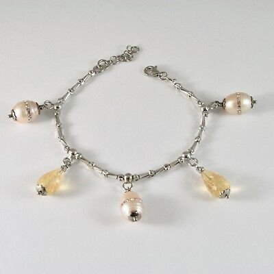 Silver Bracelet 925 Rhodium with Quartz Citrine and Pearls Fw with Crystals