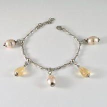 Silver Bracelet 925 Rhodium with Quartz Citrine and Pearls Fw with Crystals - $86.35