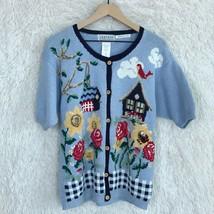 Jantzen Blue Vintage Embroidered Cardigan Sweater School Teacher Womens ... - $21.03