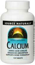 Source Naturals Calcium 200mg Supports Bone Formation 100 Tablets (Pack ... - $14.69
