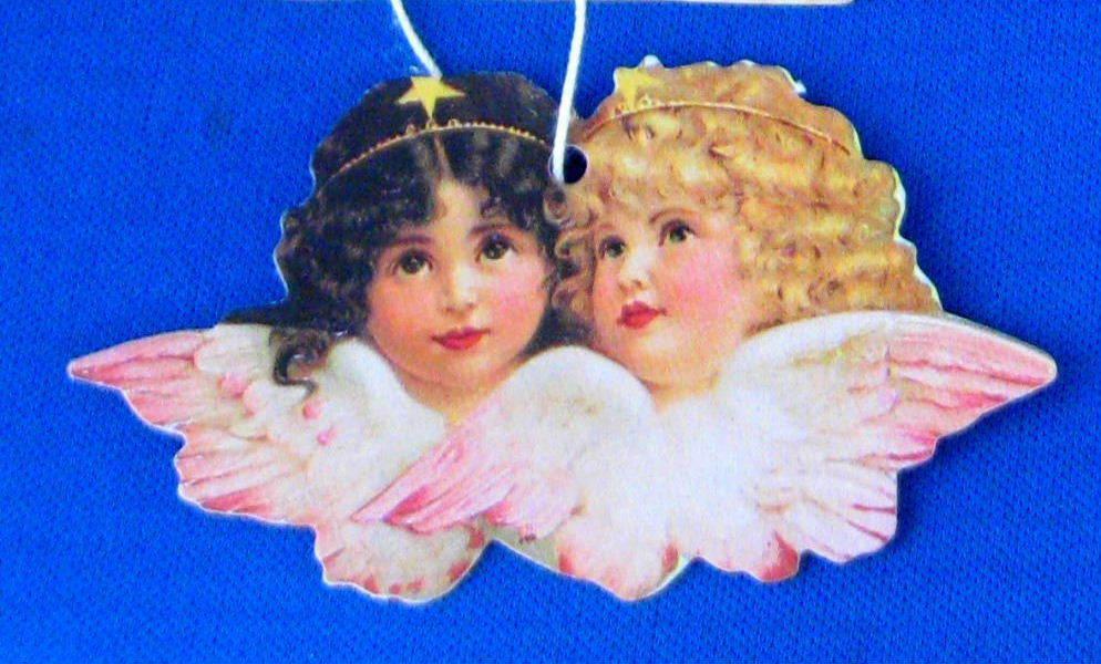 Christmas Ornaments Repro Victorian Scrap Angels image 2