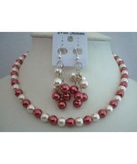 Red Cream Pearls Cluster Earrings Jewelry Gift Christmas Gift  - $10.80