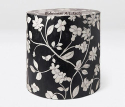 Bone Inlay Floral Design Side / End Table Black - $449.00