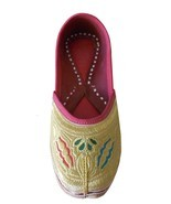 Women Shoes Jutti Indian Handmade  Bride Flip-Flops Wedding Leather Moja... - $557,66 MXN