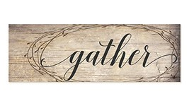 Gather Rustic Wood Wall Sign with Wreath Design 6x18 - $26.15