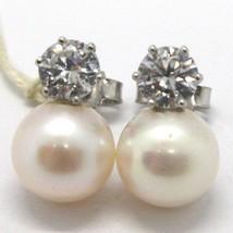 Pendientes de Oro Blanco 750 18K con Perlas Blancas Y Zirconia, Largo 1.3 CM image 1