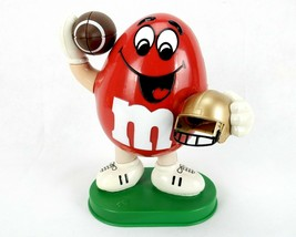 M&M Candy Dispenser, Mechanical Football Player, Red Peanut Character, Vintage - $24.45