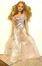 Mattel Blond Barbie Doll in light pink gown with transparent layer on top - $14.85