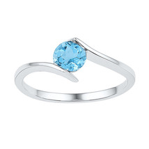 10k White Gold Womens Round Lab-Created Blue Topaz Solitaire Ring 7/8 Cttw - £95.42 GBP