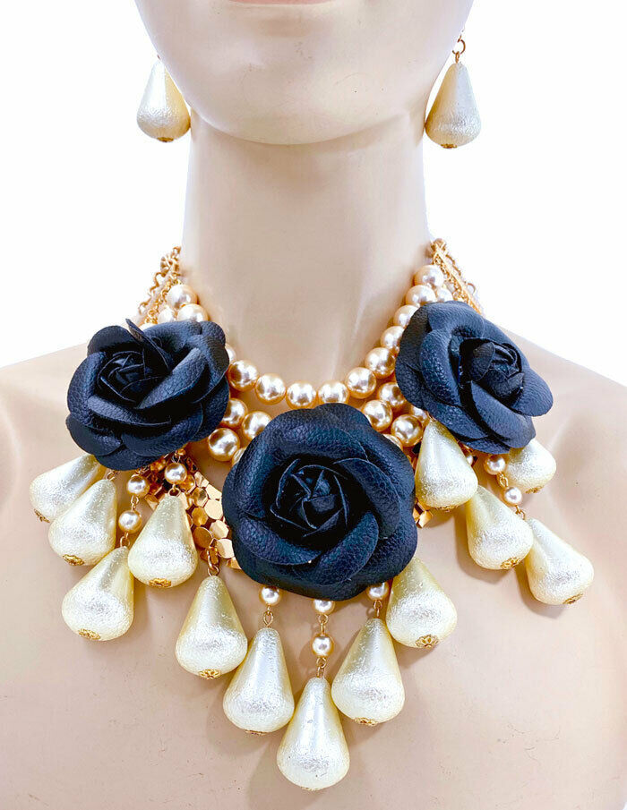 Primary image for Black Vegan Fake Leather Rose Flower Chunky Faux Pearl Necklace & Earrings